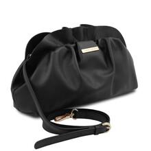 Geanta cu lant din piele naturala neagra, Tuscany Leather