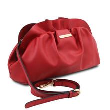 Geanta cu lant din piele naturala rosu aprins, Tuscany Leather