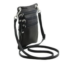 Geanta piele naturala Tuscany Leather, neagra Minicross