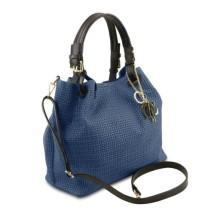 Geanta dama din piele albastru inchis Tuscany Leather, Keyluck