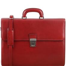 Servieta barbati Tuscany Leather din piele rosie cu doua compartimente Parma