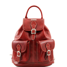 Rucsac din piele Tuscany Leather rosu Tokyo