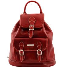 Rucsac Tuscany Leather  din piele rosu  cu catarame Singapore
