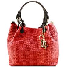 Geanta de umar shopper Tuscany Leather din piele printata lipstick red Keyluck