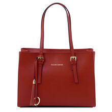 Geanta dama din piele naturala Tuscany Leather, rosie, TL Bag