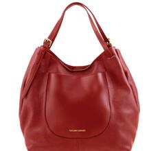 Geanta shopper Tuscany Leather din piele naturala rosie Cinzia