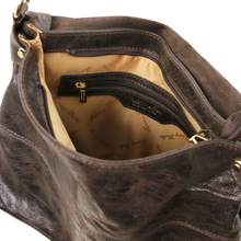 Geanta dama Tuscany Leather din piele  maro inchis