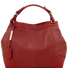 Geanta dama din piele naturala Tuscany Leather, rosie, Ambrosia