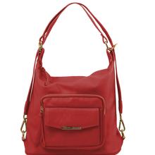 Rucsac dama si geanta de umar 2in1 Tuscany Leather din piele rosie