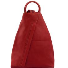 Rucsac dama casual din piele naturala Tuscany Leather, rosu, Shanghai