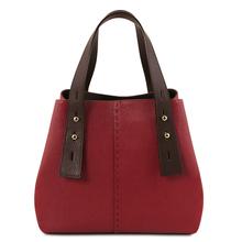 Geanta dama din piele naturala Tuscany Leather, rosie