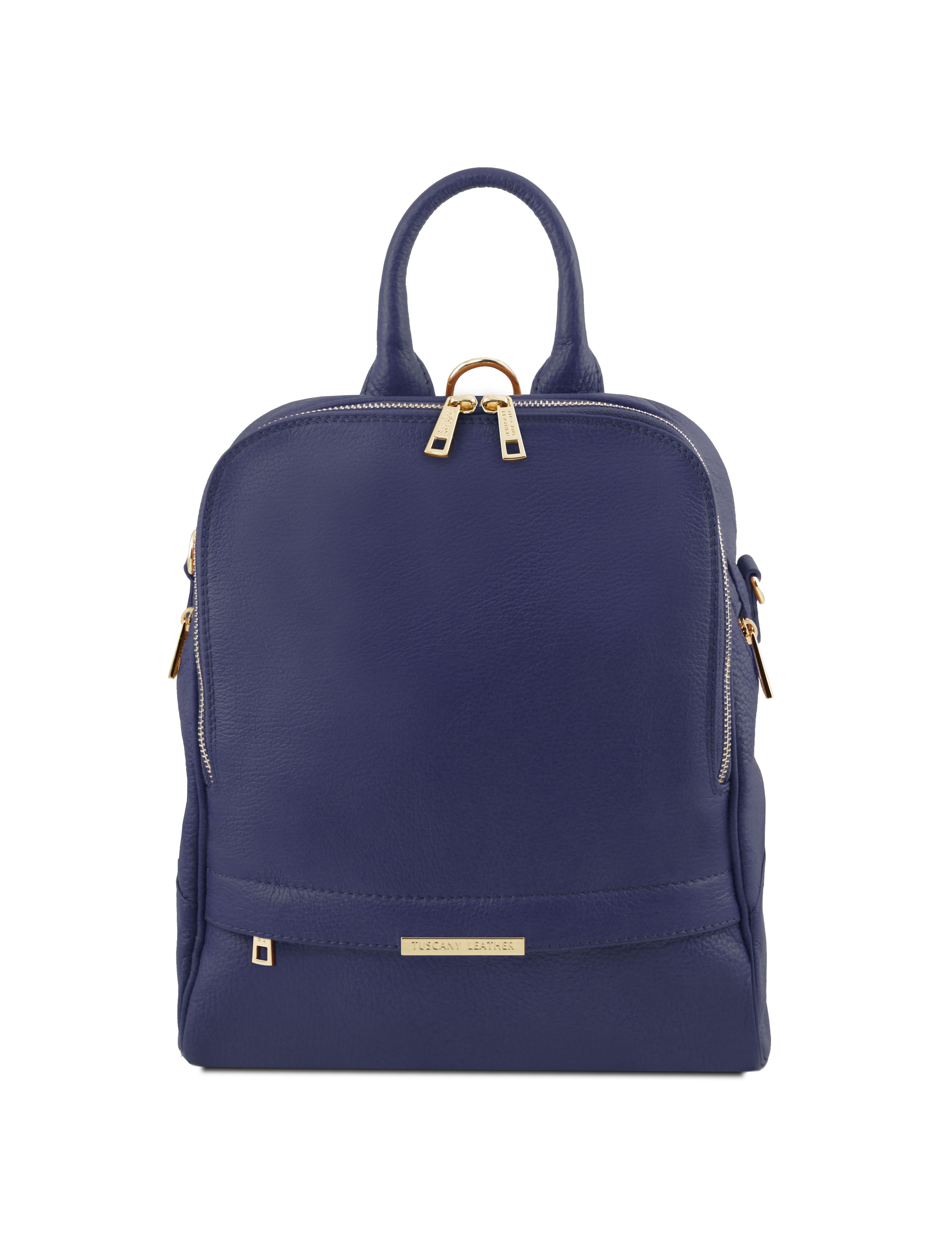 Rucsac dama din piele naturala Tuscany Leather, albastru inchis, TL Bag