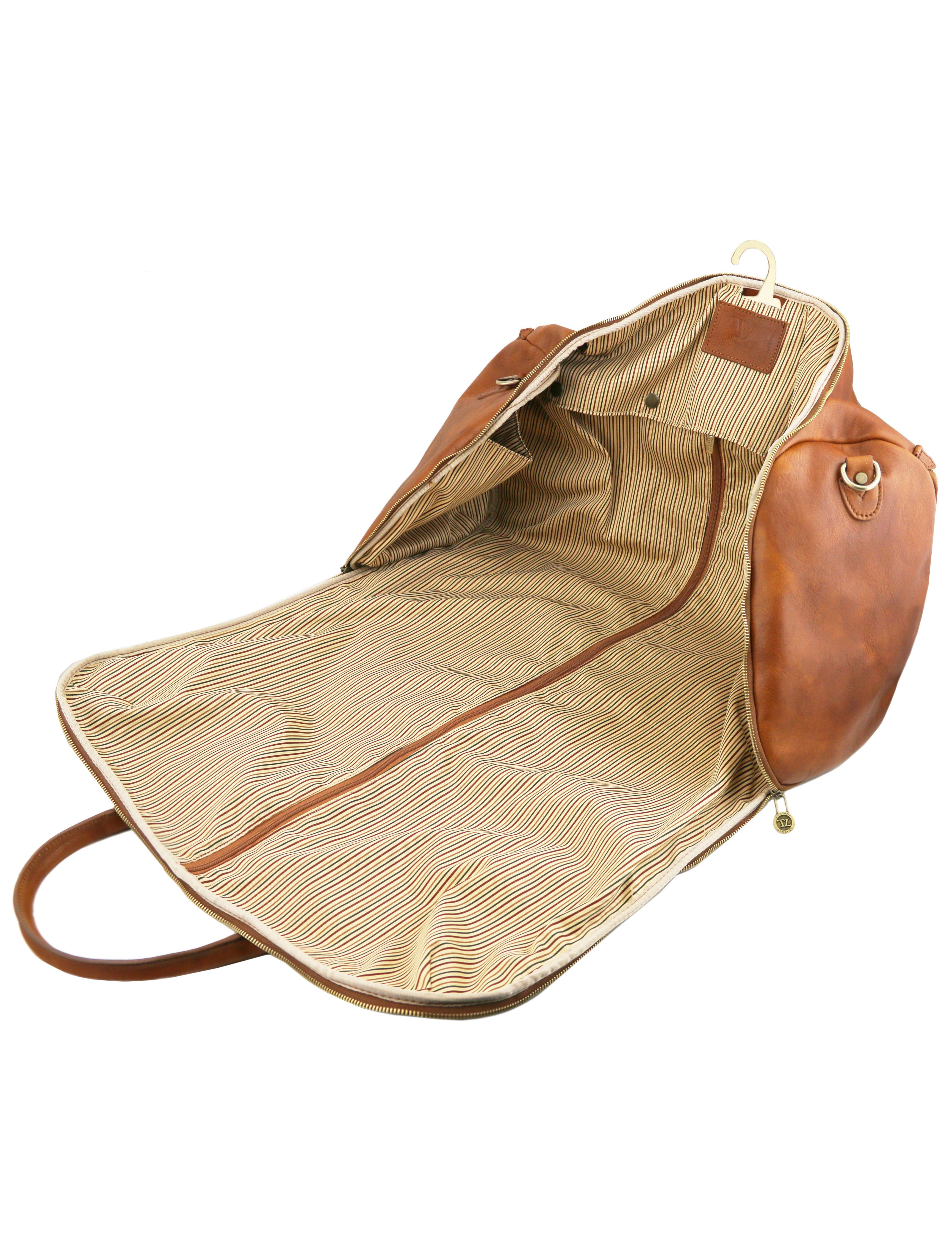 Geanta pentru costum, piele naturala maro, Tuscany Leather, Antigua