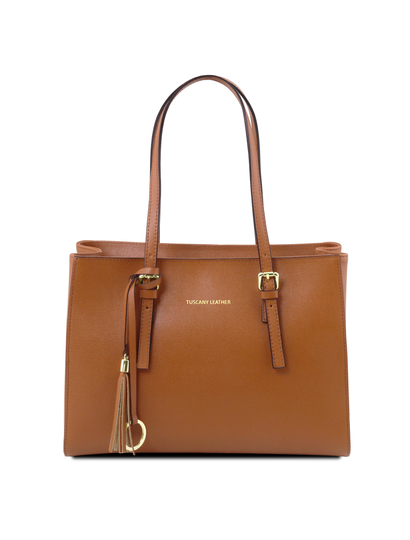 Geanta dama din piele naturala Tuscany Leather, coniac, TL Bag