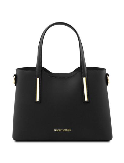 Geanta dama din piele naturala Tuscany Leather, neagra, Olimpia marime mica