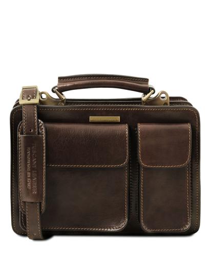 Geanta dama din piele naturala Tuscany Leather, maro inchis, Tania