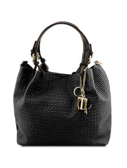 Geanta dama din piele printata neagra Tuscany Leather, Keyluck