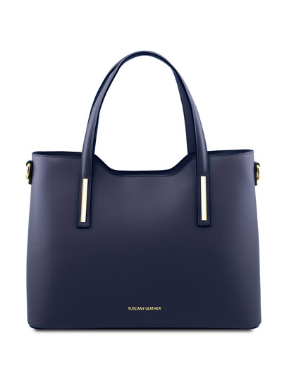 Geanta dama din piele naturala albastru inchis Tuscany Leather, Olimpia