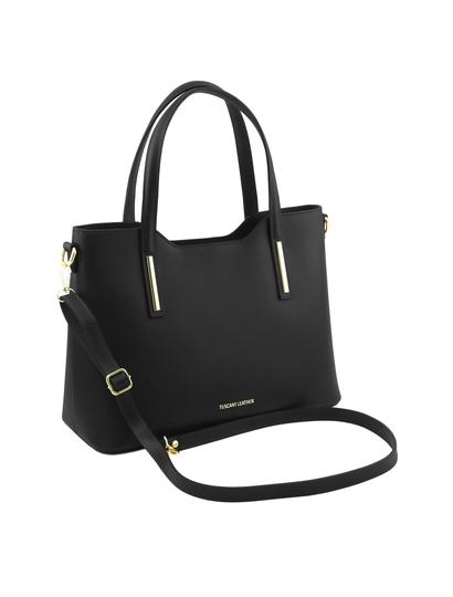 Geanta neagra din piele naturala dama Tuscany Leather, Olimpia