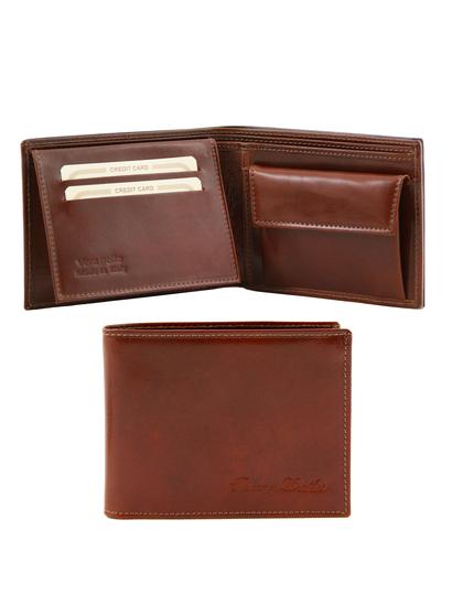 Portofel din piele Tuscany Leather cu trei pliuri si buzunar monede maro