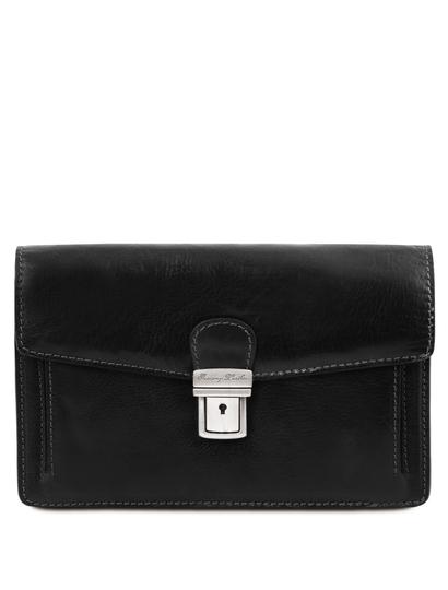 Borseta de mana barbati Tuscany Leather din piele naturala neagra Tommy