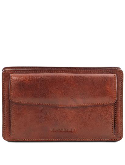 Borseta barbati din piele naturala Tuscany Leather, maro, Denis
