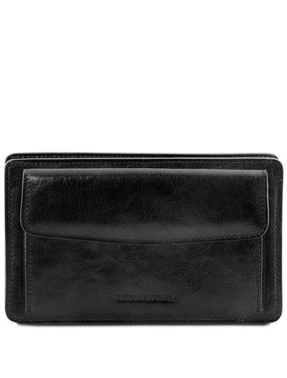 Borseta de mana Tuscany Leather din piele naturala neagra Denis