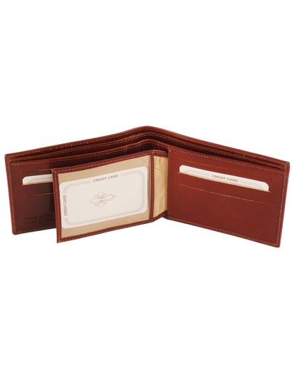 Portofel barbati din piele naturala Tuscany Leather cu trei pliuri, maro