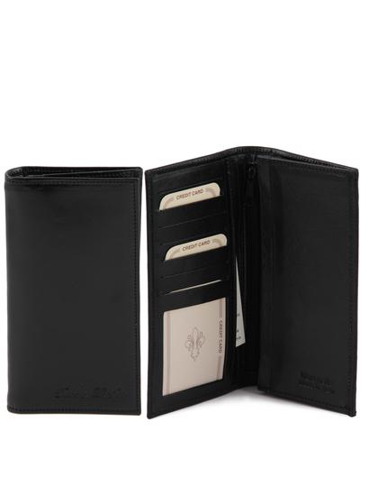 Portofel barbati din piele naturala Tuscany Leather cu doua pliuri negru