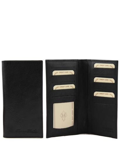 Portofel barbati din piele naturala Tuscany Leather cu doua pliuri, negru