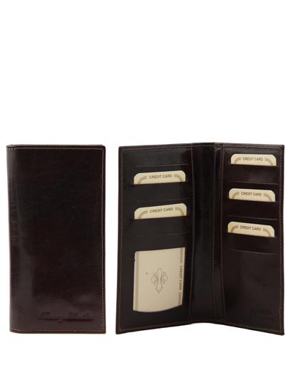 Portofel barbati Tuscany Leather din piele cu doua pliuri maro inchis