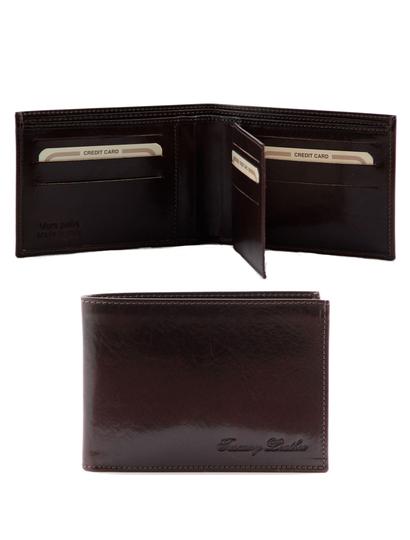 Portofel barbati Tuscany Leather cu trei pliuri din piele maro inchis