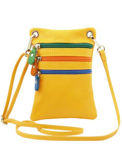 Geanta de umar Tuscany Leather din piele galbena Minicross