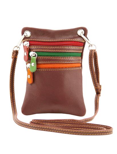 Geanta mica din piele naturala Tuscany Leather, maro, Minicross