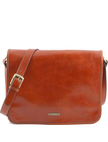 Geanta messenger barbati din piele naturala Tuscany Leather, honey, marime mare