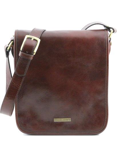 Geanta barbati din piele naturala Tuscany Leather, maro, cu doua compartimente
