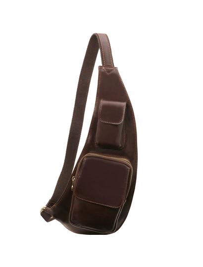 Geanta barbati crossbody Tuscany Leather din piele maro inchis