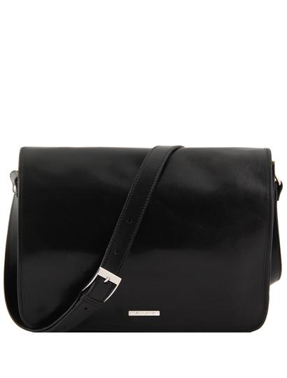 Geanta messenger barbati din piele naturala Tuscany Leather, neagra, Freestyle
