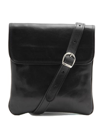 Geanta barbati din piele naturala Tuscany Leather, neagra, Joe