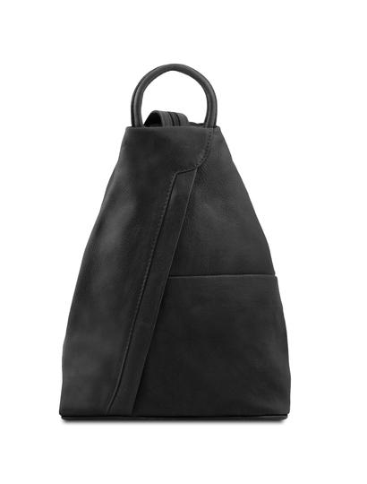 Rucsacel dama din piele naturala Tuscany Leather, negru, Shanghai