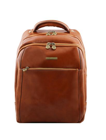Rucsac laptop din piele naturala Tuscany Leather, honey, Phuket