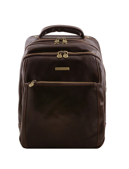 Rucsac laptop din piele naturala Tuscany Leather, maro inchis, Phuket