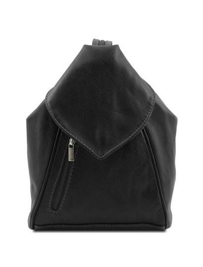 Rucsac dama din piele naturala Tuscany Leather, negru, Delhi