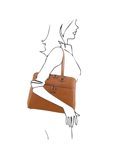 Geanta business dama din piele naturala Tuscany Leather, coniac, TL Smart