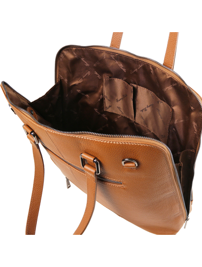Geanta business moderna  dama din piele naturala Tuscany Leather, coniac, TL Smart