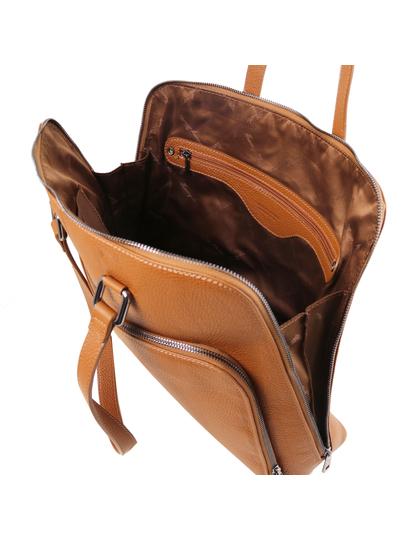 Geanta piele  business dama din Tuscany Leather, coniac, TL Smart