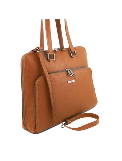Geanta business functionala  dama din piele naturala Tuscany Leather, coniac, TL Smart