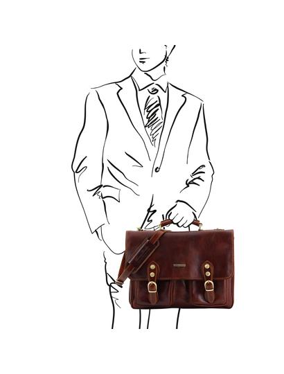 Servieta functionala barbati din piele naturala Tuscany Leather, maro, Modena
