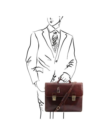 Servieta barbati  piele naturala Tuscany Leather, maro, Bolgheri