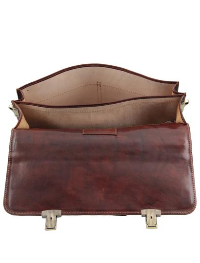 Servieta barbati  piele naturala Tuscany Leather, maro inchis, Bolgheri